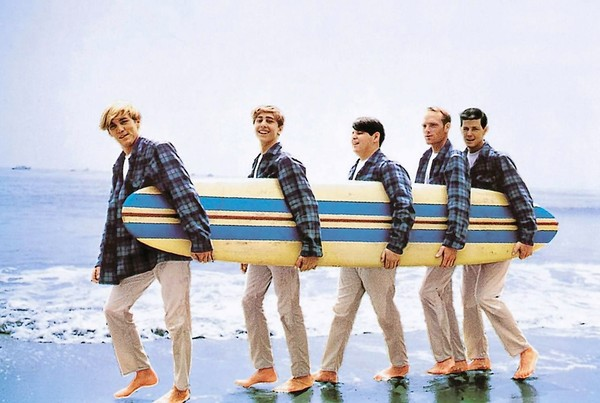 [1963 -- Beach Boys sport matching blue plaid Pendleton shirts on the cover of their
